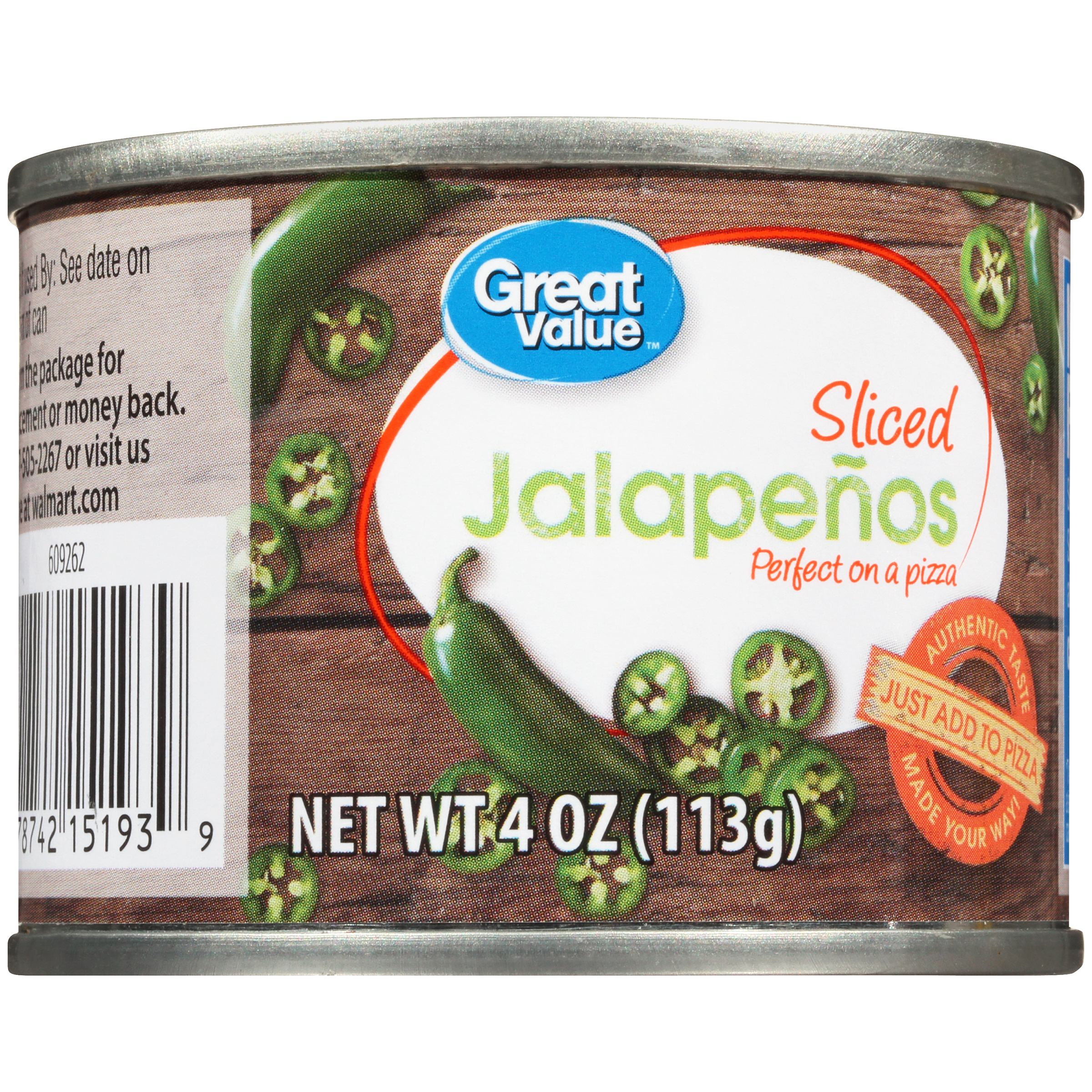 (6 Pack) Great Value Sliced Jalapeños, 4 Oz