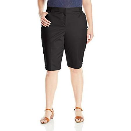 Napa Valley Women's Plus Size Twill Skimmer Short, Black, 16W