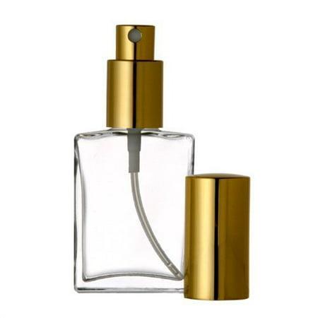Grand Parfums Empty 1 Oz Perfume Atomizer, Flat Glass Bottle, Gold Sprayer 30ml Decant Fragrance Bottle ( 1 BTL)