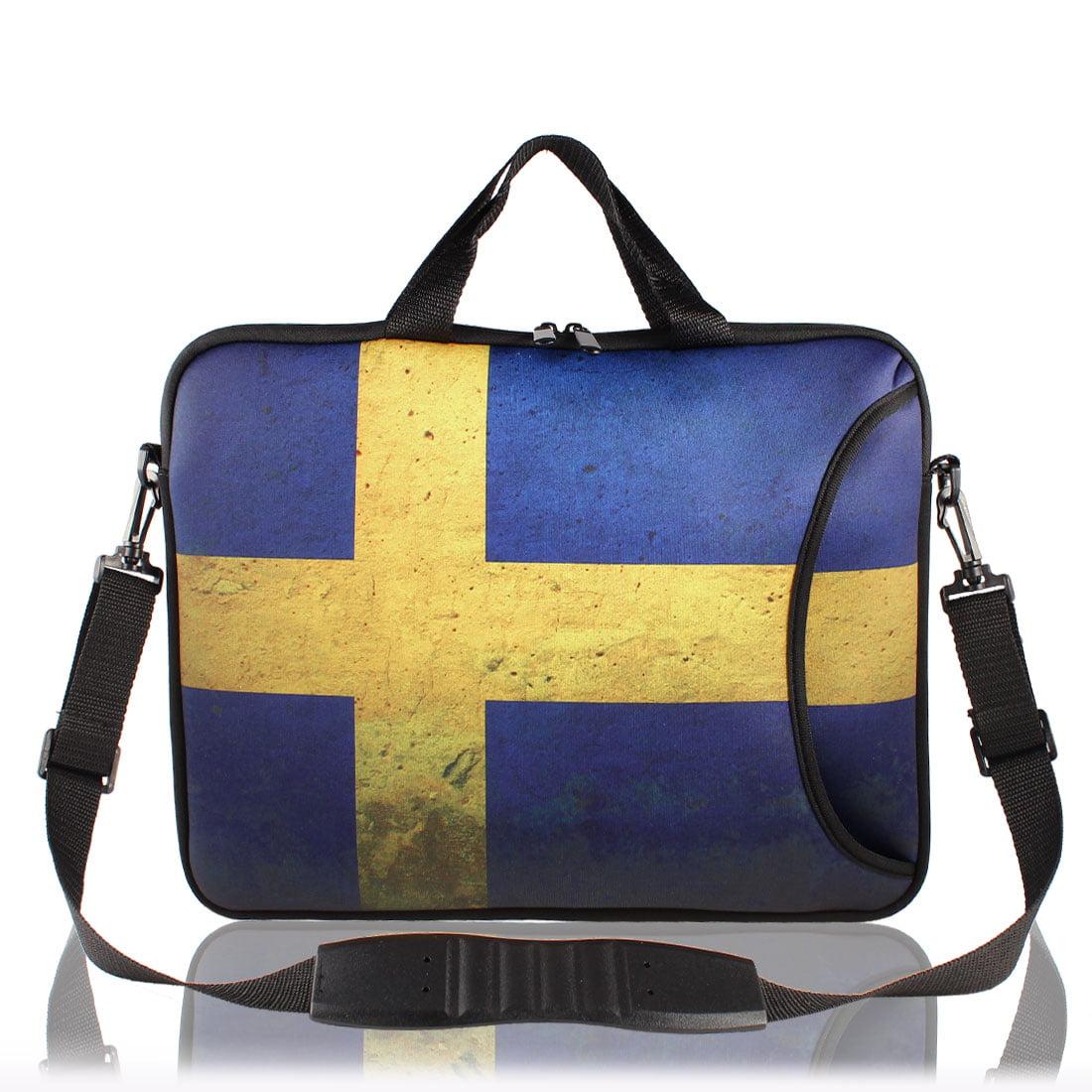 """Retro Style 17"""" Notebook Sweden Flag Pattern Shoulder Sleeve Bag Carry Case"""