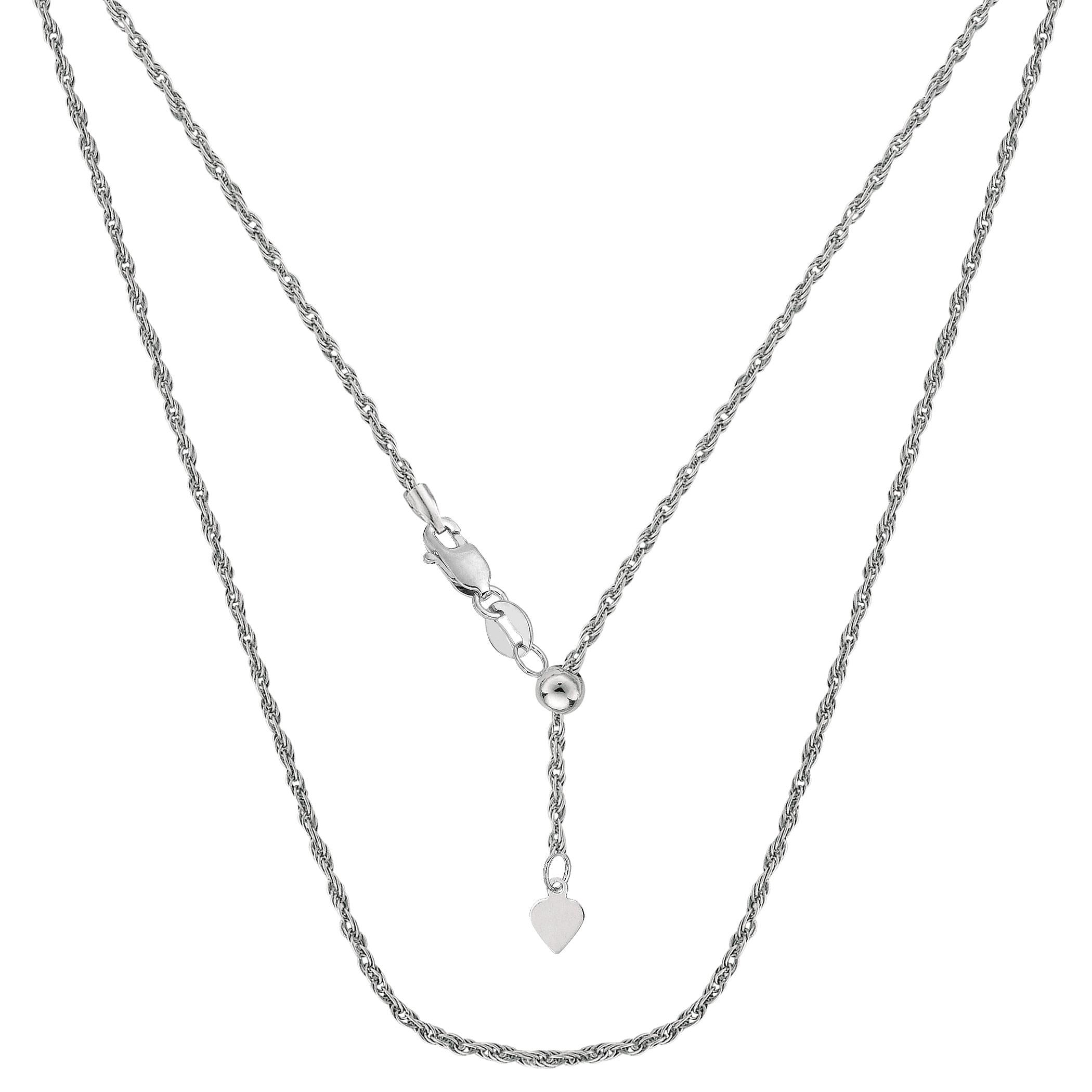 "JewelryAffairs 14k White Gold Adjustable Rope Chain Necklace, 1.0mm, 22"" by JewelryAffairs"
