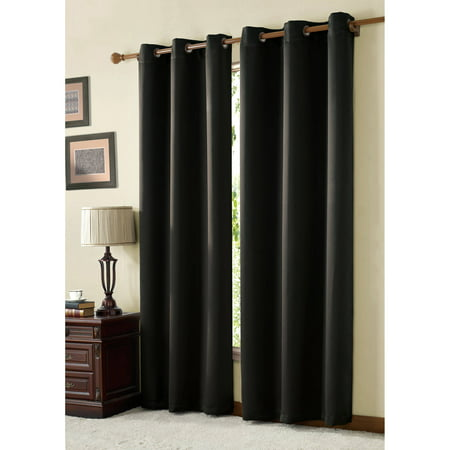 VCNY Home McKenzie Blackout Twill Grommet Top Window Curtains, Multiple Sizes - Brown Twill Arch