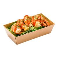 "Matsuri Vision Rectangle Kraft Paper Small Sushi Container - 4 3/4"" x 2 1/2"" x 1 1/2"" - 100 count box"