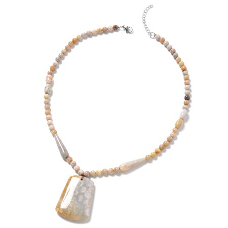 Coral Stainless Steel Pendant with Beads Strand Necklace for Women Jewelry Gift