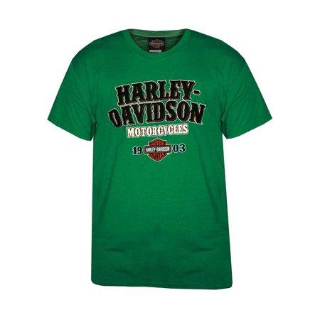 Harley-Davidson Men's Lucky Bold  H-D Short Sleeve Crew Neck T-Shirt, Green, Harley