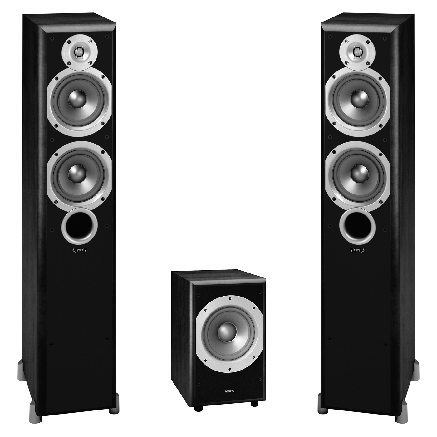 "Infinity Primus P253 2-Way Dual 5-1/4"" Floorstanding Speakers with PS38 8"" Subwoofer (Black)"