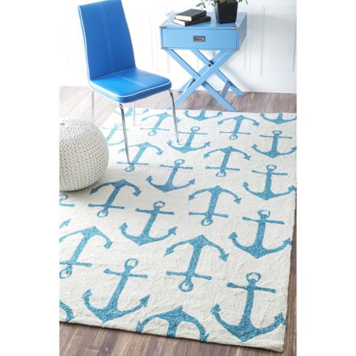 Nuloom Indoor Outdoor Novelty Nautical Anchors White Rug
