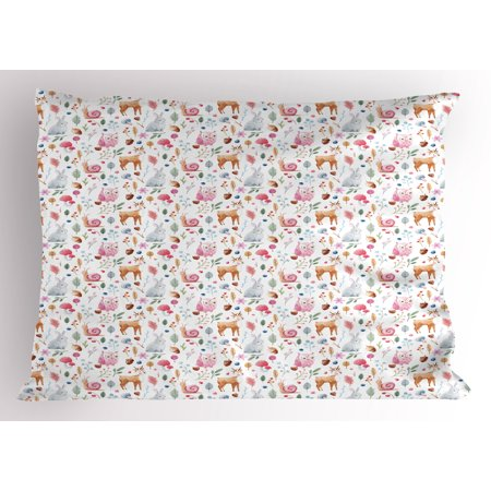 Nursery Pillow Sham Cute Animals Deer Snail Owl and Rabbit Watercolor Style Berries and Mushroom Design, Decorative Standard Size Printed Pillowcase, 26 X 20 Inches, Multicolor, by Ambesonne