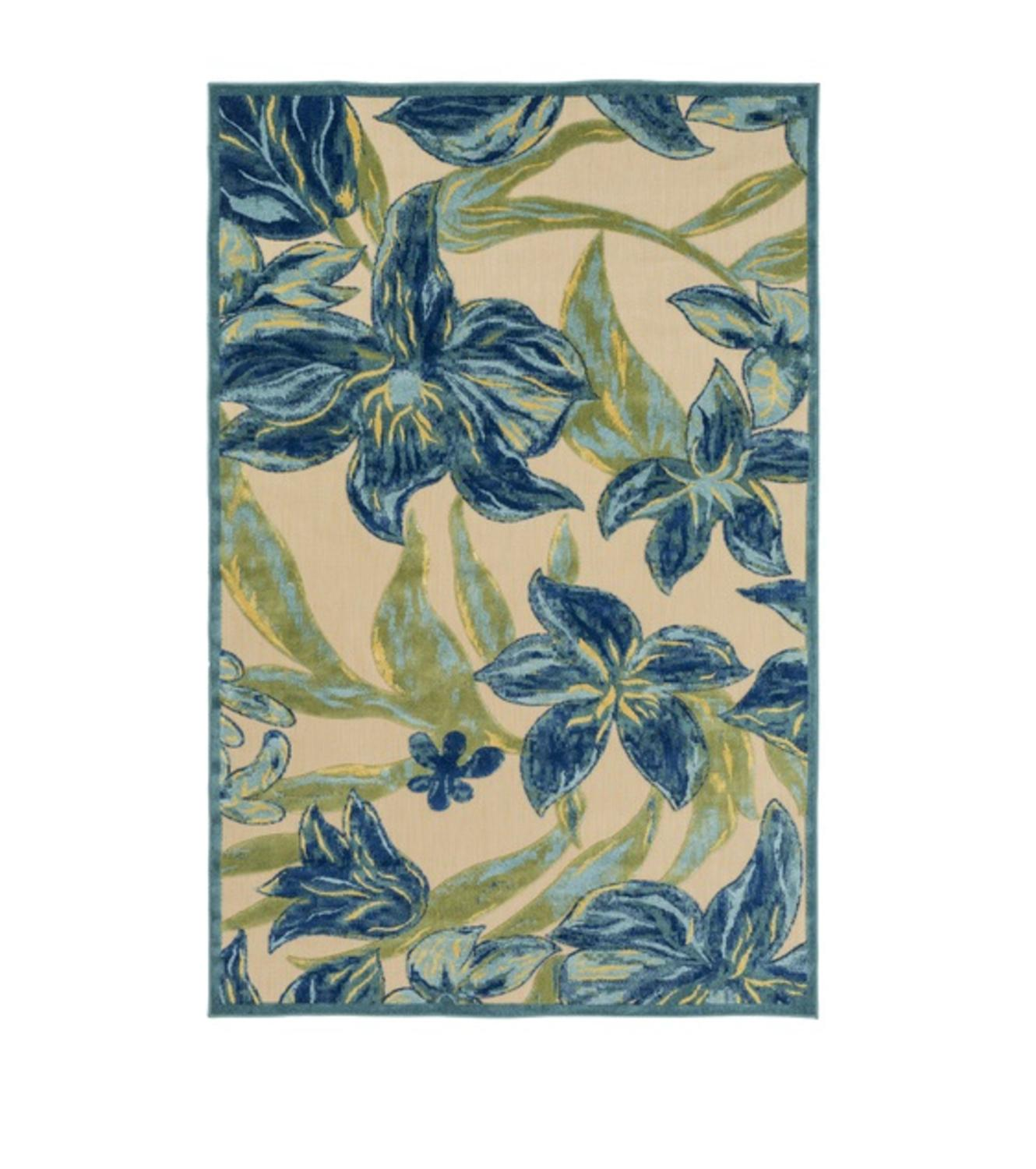 5' x 7.5' Island Florals Caribbean Turquoise and Goldenrod Outdoor Area Throw Rug by Diva At Home
