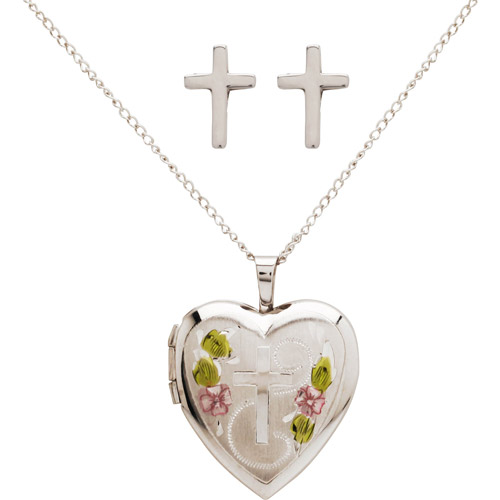 Heart with Hand-Painted Roses Locket Pendant & Cross Earrings Set in Sterling Silver, 18""