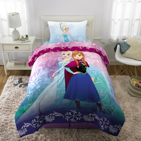 Disney's Frozen Elsa & Anna Bed in a Bag Kids Bedding Set, Nordic Frost, w/ Reversible Comforter (Twin Size Toddler Girl Bedding)