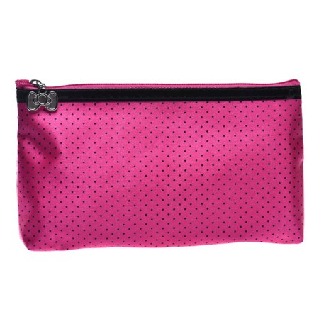 1PC Round Dot Portable Storage Makeup Bag Hot Pink