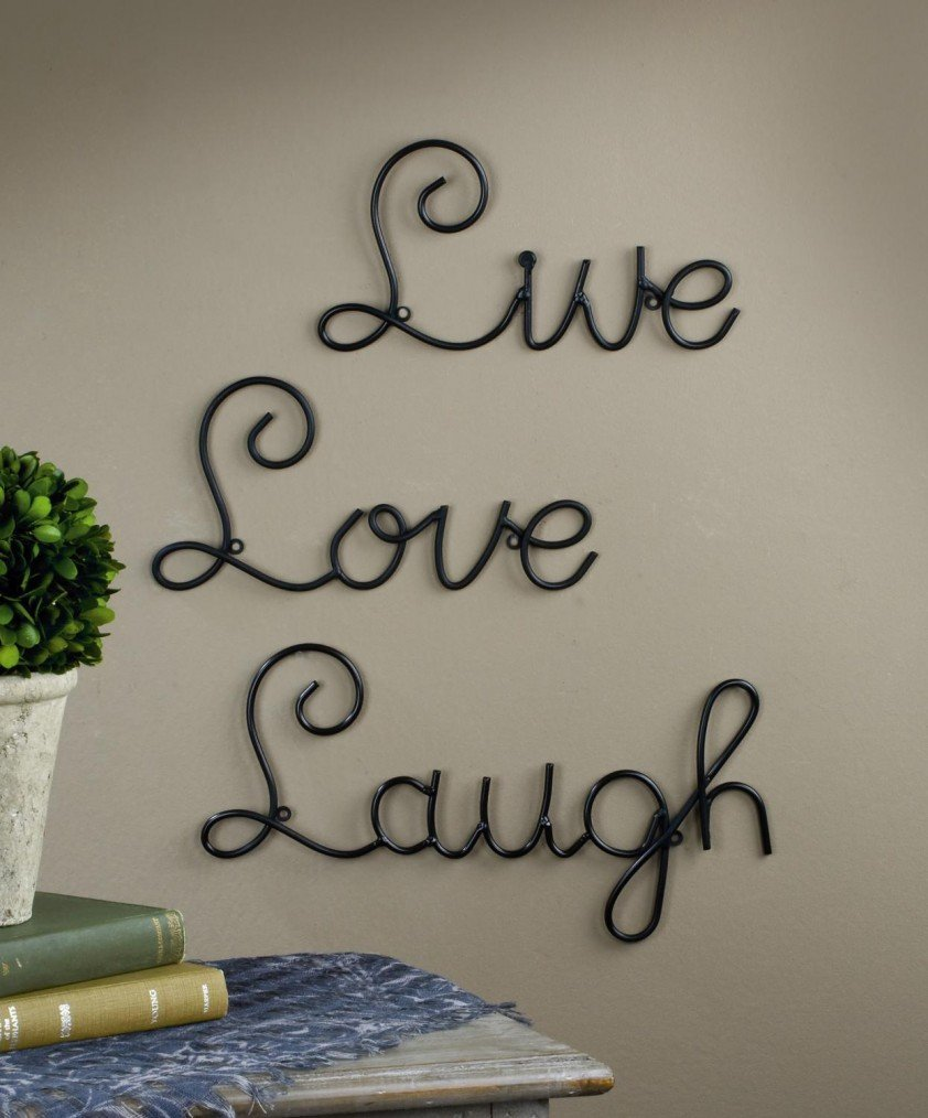 Live Love Laugh Set  Wall Mount Metal Wall Word Sculpture By Super Z Outlet Walmart Com