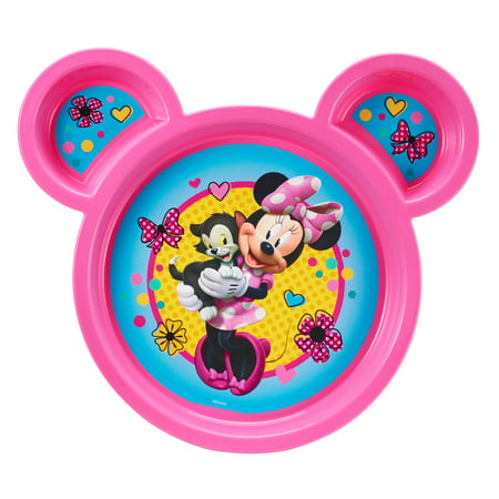 Disney Minnie Mouse Toddler Plate, Sectioned Plate, Pink
