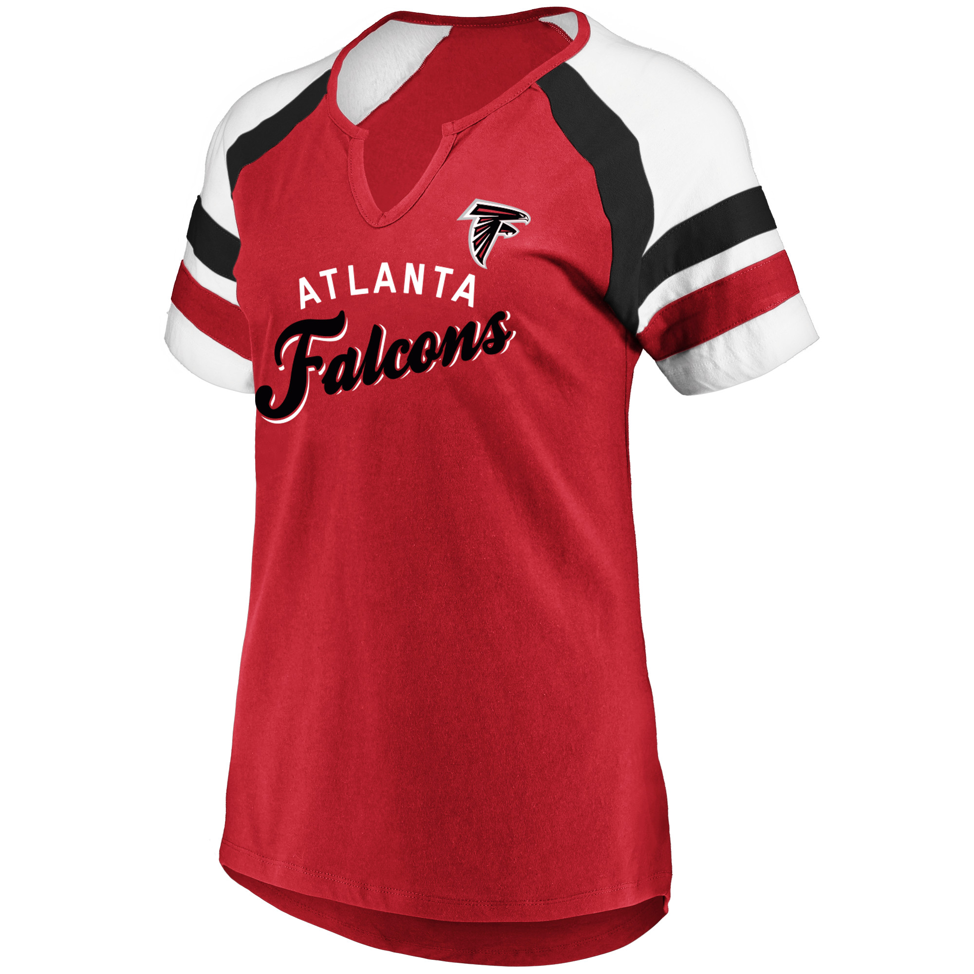 Women's Majestic Red/White Atlanta Falcons Defensive Victory V-Notch T-Shirt