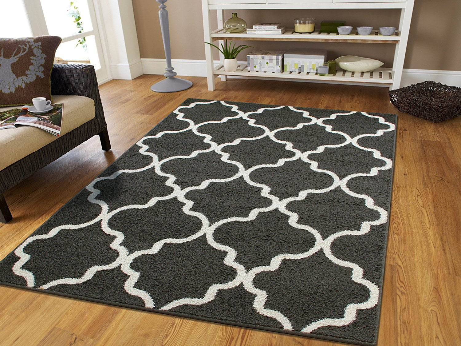 Area rugs for living room 5x8 dark gray modern rug - Living room area rugs contemporary ...