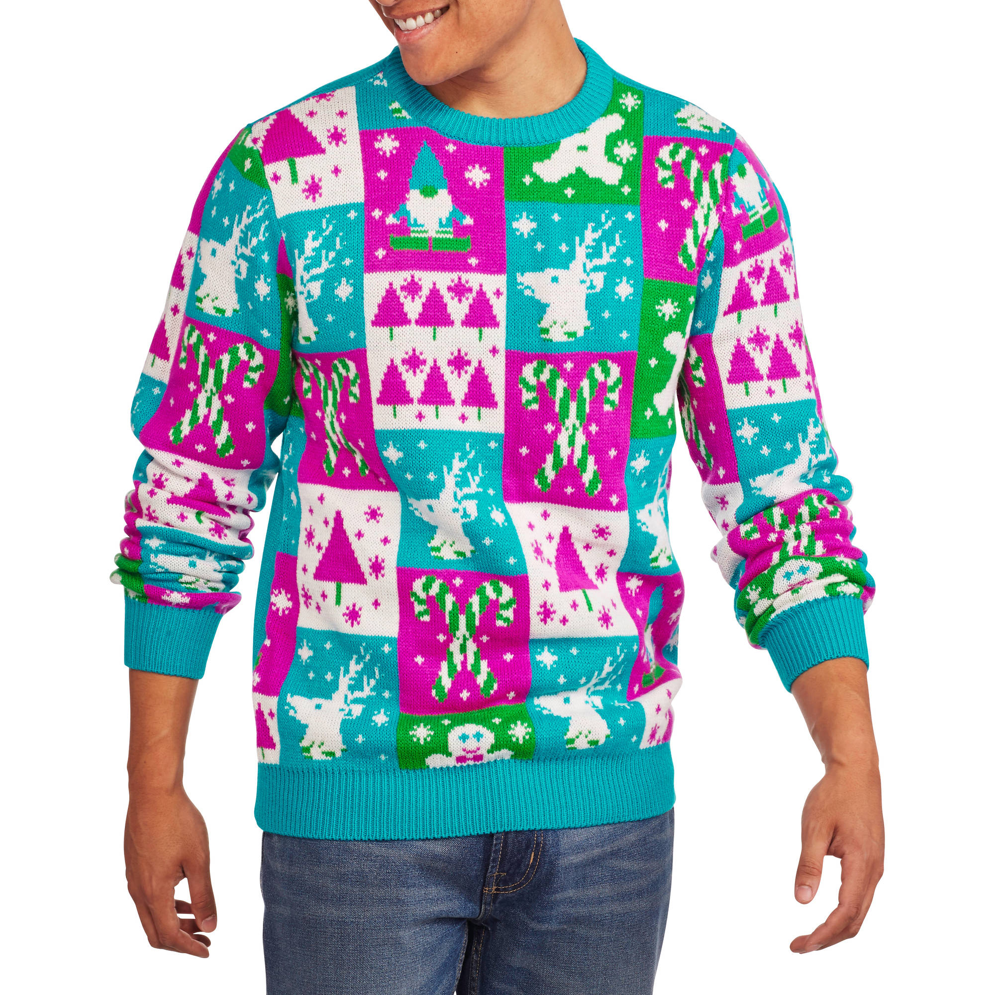 ugly christmas sweater multicolor mens ugly christmas sweater walmartcom - Cheap Mens Ugly Christmas Sweater