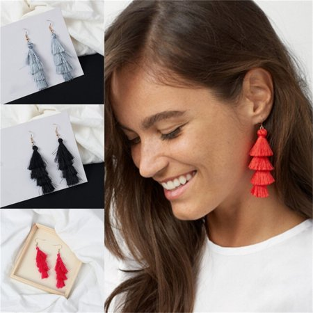 Women Fashion Paired Bohemian Tassels Style Plush Pagoda Tower Hook Earrings High-flown Dual-layer Drop Dangle Earrings For Party Wedding Christmas Jewelry Gift Black Body Jewelry Black Chandelier Earrings