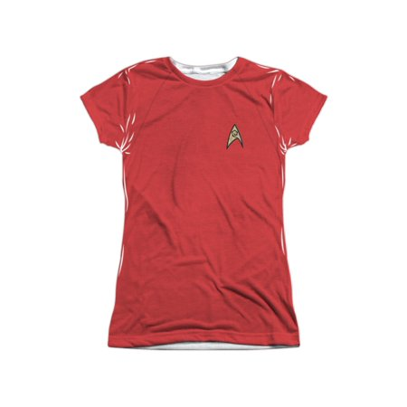 Plus Size Star Trek Uniform (Star Trek Sci-Fi TV Series Engineering Red Uniform Junior Front Print T-Shirt)