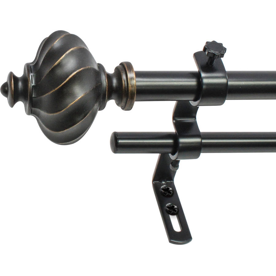 "Montevilla Core Ribbed Knob 5/8"" Double Curtain Rod Set"