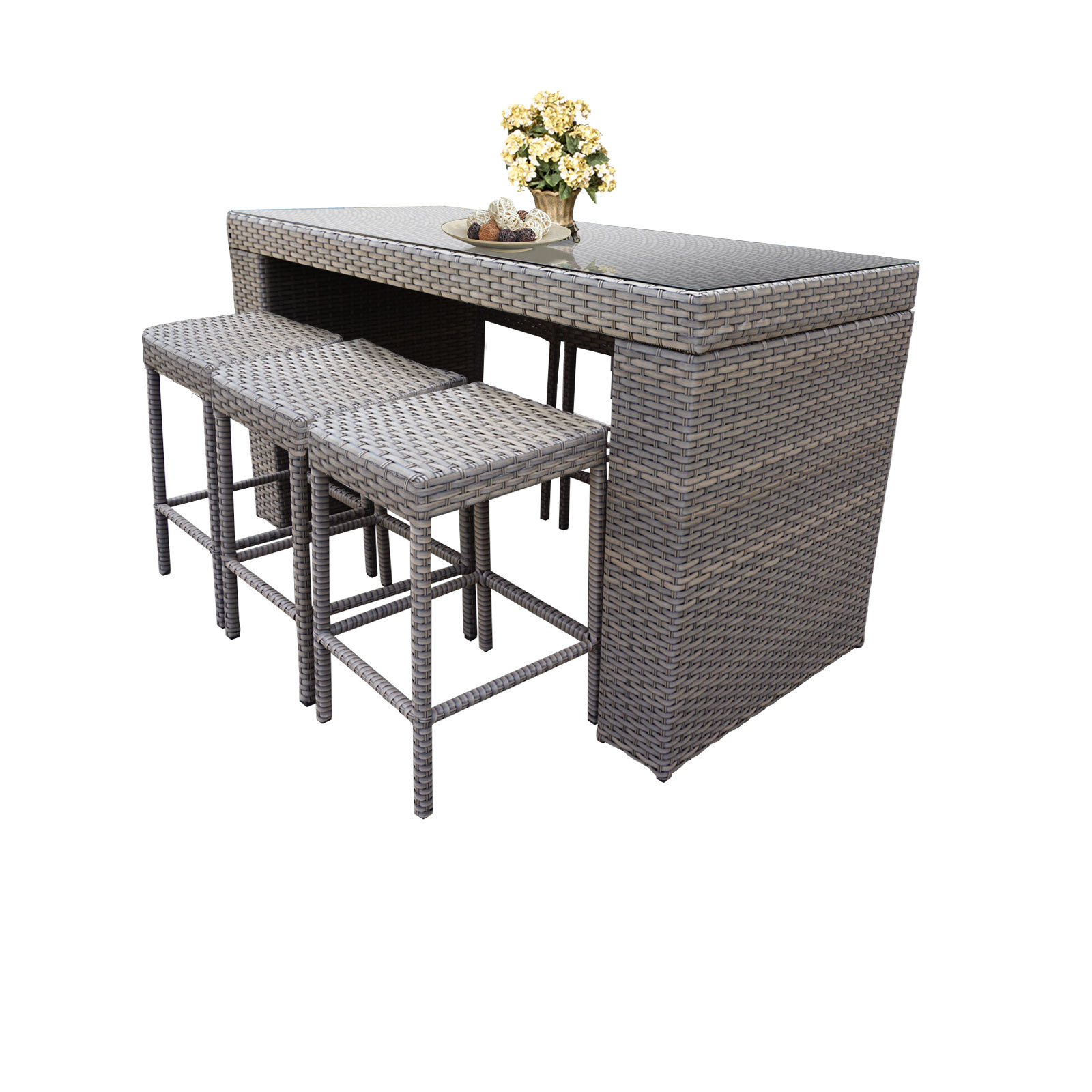 Bar Table Set With Backless Barstools 7 Piece Outdoor Wicker Patio Furniture