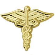 PinMart's Classic Gold Plated Medical Caduceus Lapel Pin