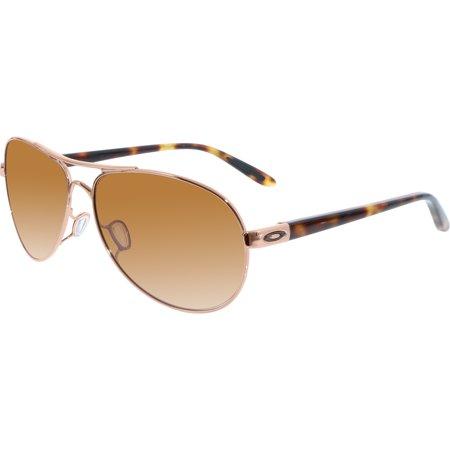 423280d750 Oakley Women s Gradient Feedback OO4079-01 Rose Gold Aviator Sunglasses -  image 3 ...