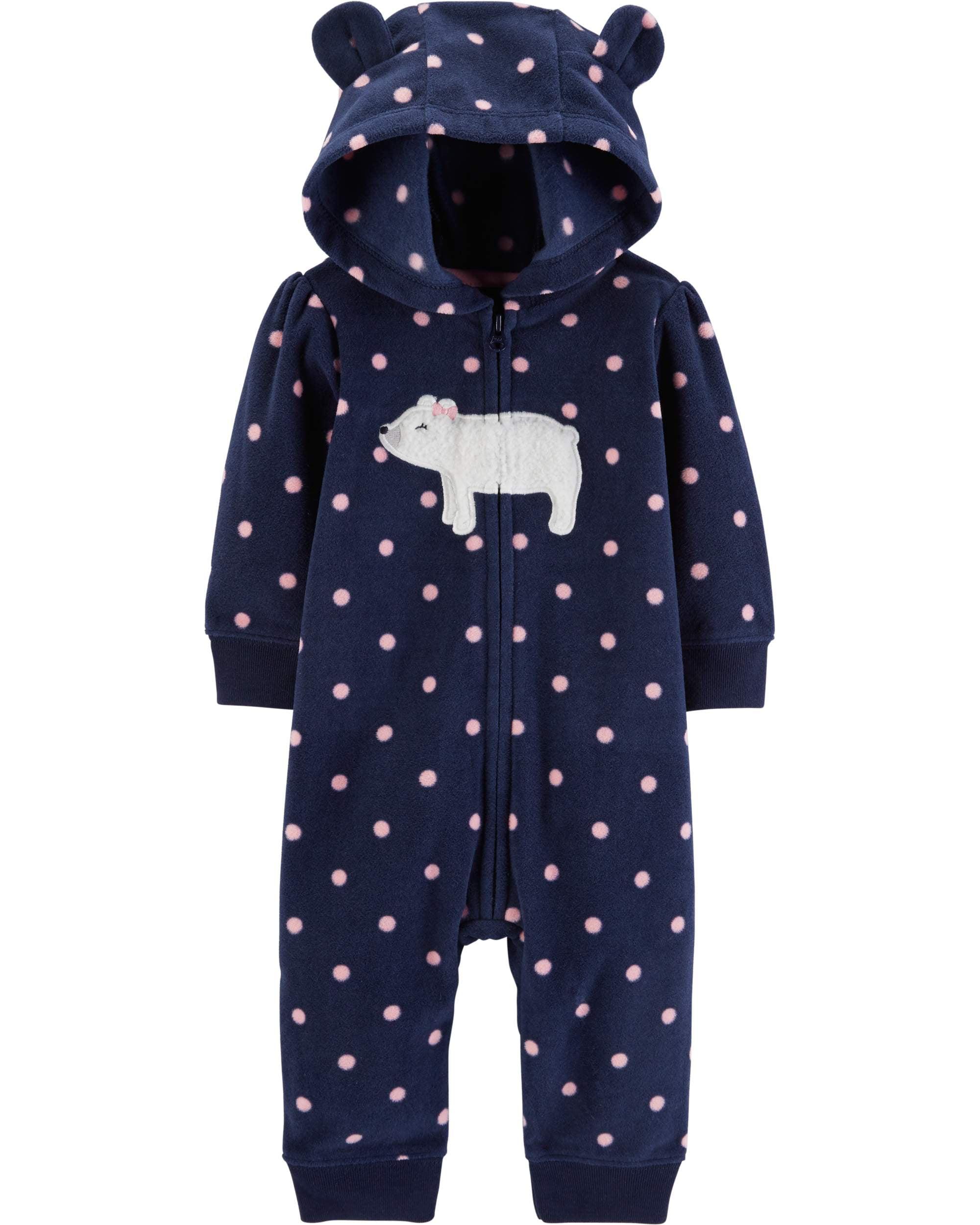 Hooded Long Sleeve Footless Fleece Romper (Baby Girls)