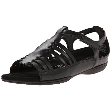 Soft Style by Hush Puppies Women's Eaby Dress Sandal, Black Kid Fusion Leather, 6 W US ()