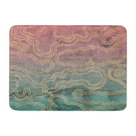 KDAGR Sliced Marble Rose Gold Overlaid on Pink and Green Hand Ombre Watercolor Doormat Floor Rug Bath Mat 30x18 inch
