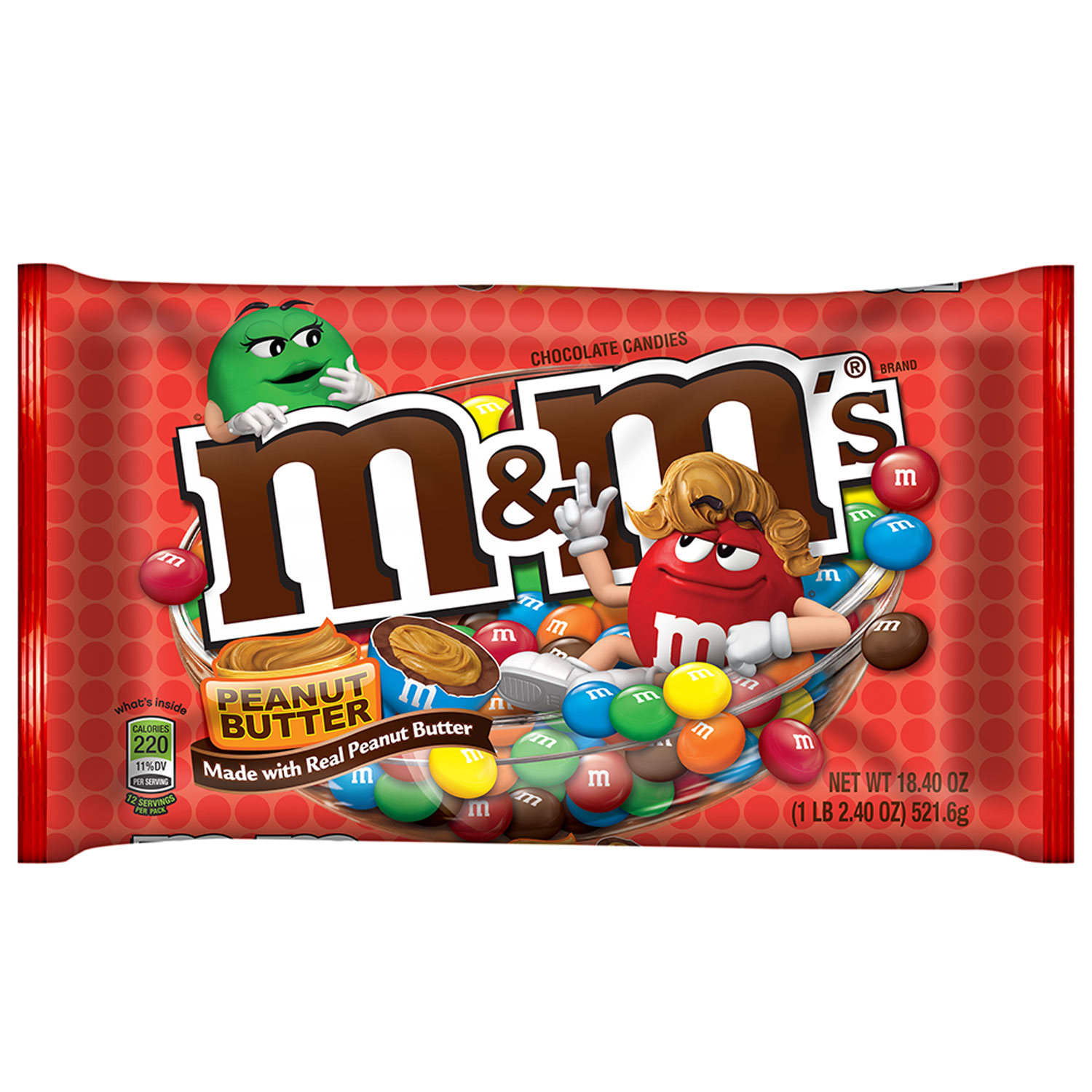 M&M'S Peanut Butter Chocolate Candy Bag, 18.4 oz