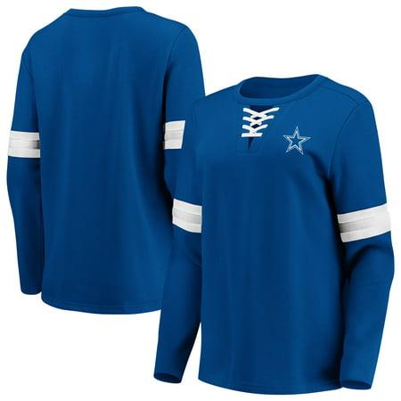 Dallas Cowboys Fanatics Branded Women's Lead Draft Lace-Up Pullover Fleece Sweatshirt - Navy
