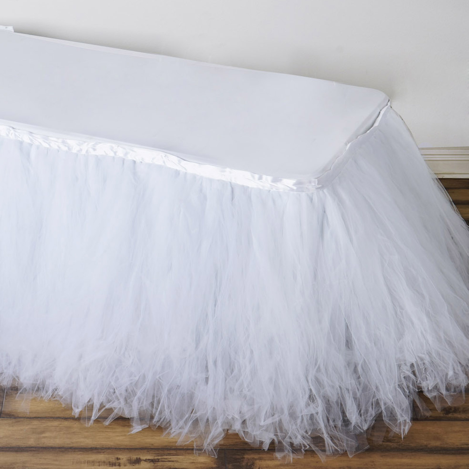 """Efavormart 14FT FULL SIZE 8 Layer Fluffy Tulle Tutu Table Skirt for Kitchen Dining Cater Wedding Party FOR 6ft rec/48""""round table"""
