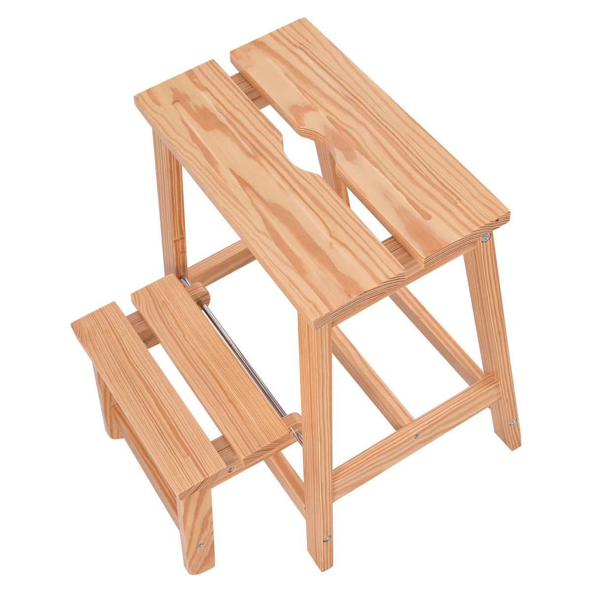 2 Tier Solid Wood Folding Step Stool