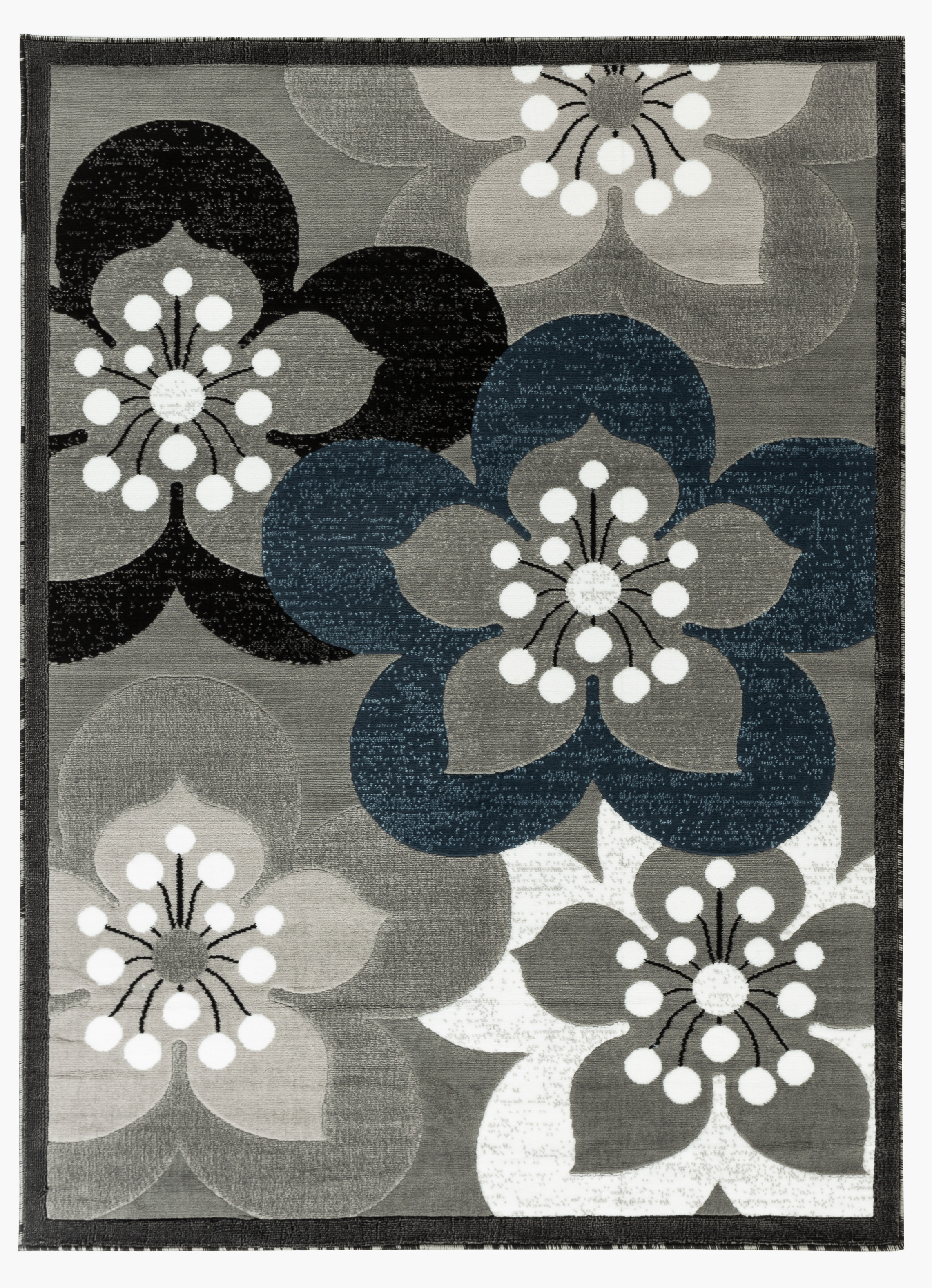 Picture of: Newport Collection Gray White Navy Blue Floral Modern Area Rug Walmart Com Walmart Com