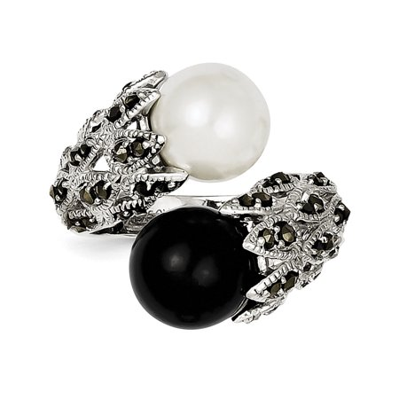 Marcasite White Ring - Sterling Silver Marcasite Black and White Cultured Pearl Ring