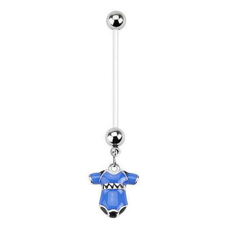 - BodyJ4You Pregnancy Belly Button Ring Blue Onesie Boy 14G Flexible Bioflex Bar Maternity Jewelry