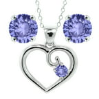 1.98 Ct Round Blue Tanzanite 925 Sterling Silver Pendant Earrings Set