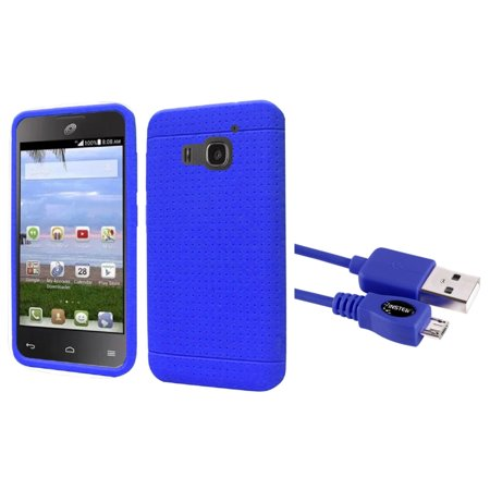 Insten Rugged Skin Rubber Cover Case For Huawei Magna   Blue    Micro Usb Data Charge Cable