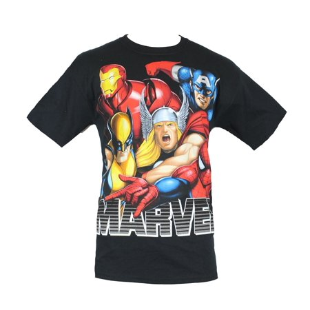 Airbrushed Clothing - Marvel Comics Mens T-Shirt - Big Headed Airbrushed Colorful Head Image