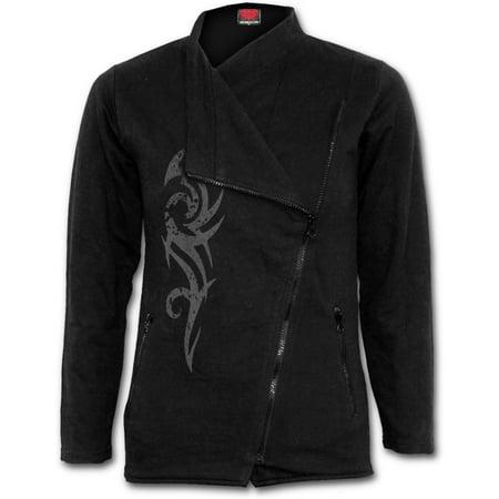 Spiral Direct STAINED TRIBAL Fleece Slant Zip Women Biker Jacket BlackTribal