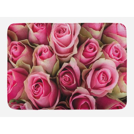 Rose Bath Mat, Blooming Fresh Pink Roses Festive Bridal Bouquet Romance Sweetheart Valentine, Non-Slip Plush Mat Bathroom Kitchen Laundry Room Decor, 29.5 X 17.5 Inches, Pink Pale Green, Ambesonne