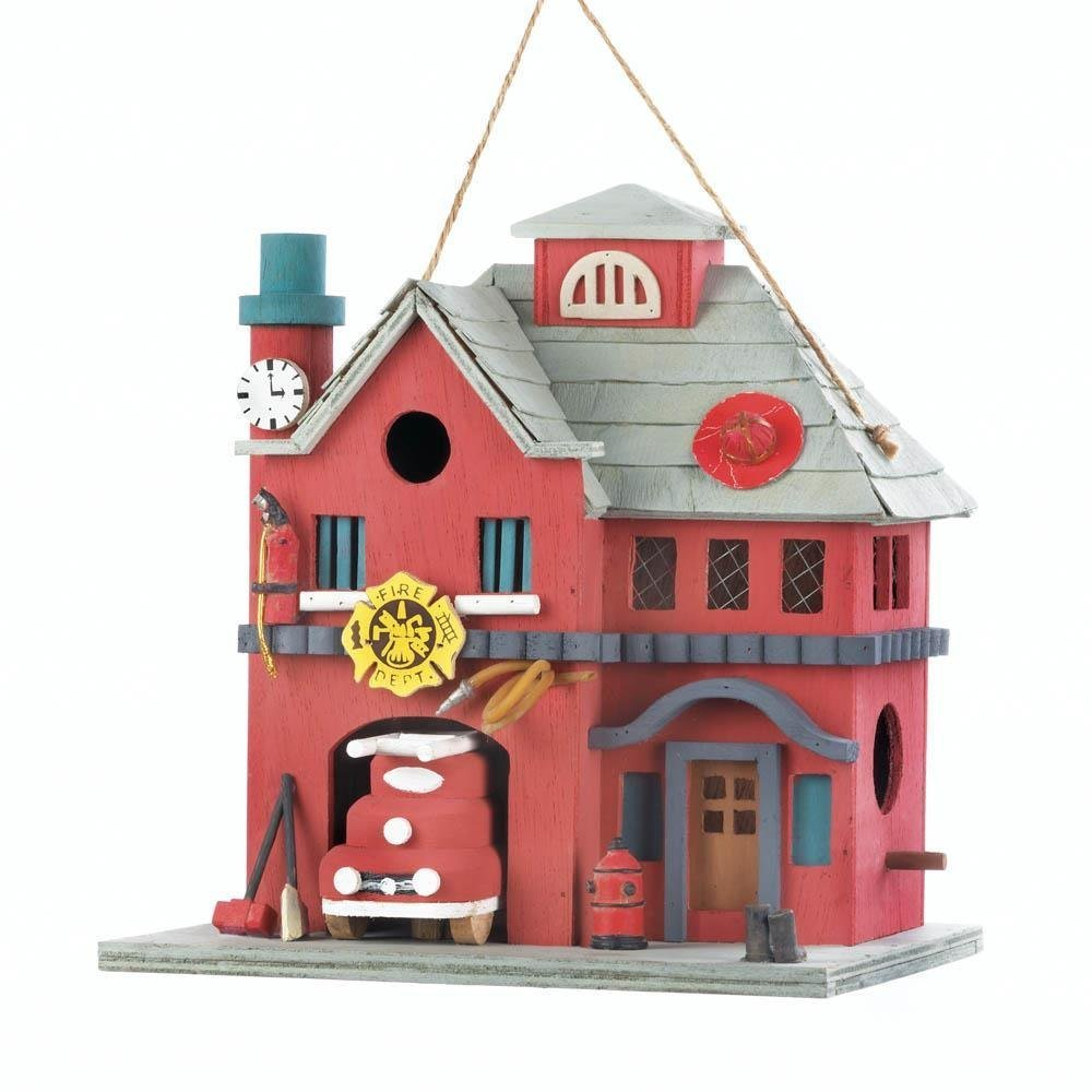 Bird Houses, Modern Wooden Bird Houses - Fire Station, Red, This outdoor birdhouse is made of eucalyptus wood. By Songbird Valley from USA