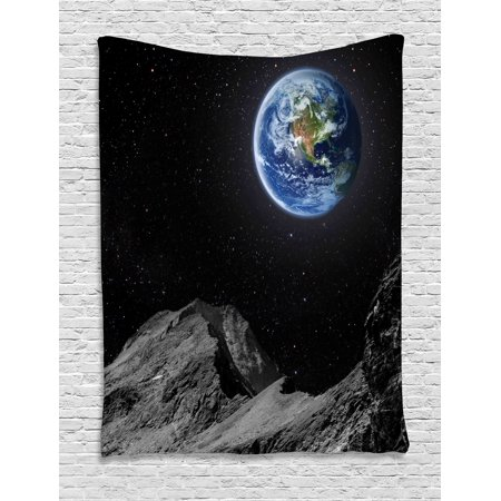 Galaxy Tapestry, Planet Earth Rocky Cliffs of Moon Lunar Panorama Art Cosmos Outer Space Print, Wall Hanging for Bedroom Living Room Dorm Decor, 40W X 60L Inches, Blue Black Grey, by Ambesonne - Outer Space Decor