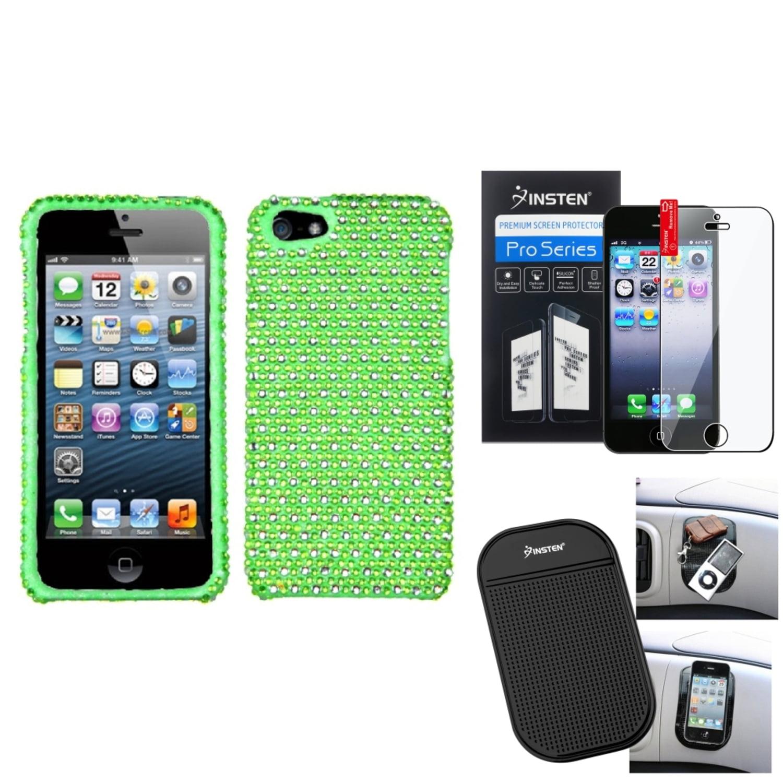 Insten Film+Mat+Green Dots Bling Diamond Rhinestone Case Cover For Apple iPhone 5 / 5s 5G 5th