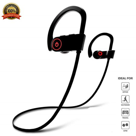 Bluetooth Headphones, Best Wireless Earbuds IPX7 Waterproof Sports Earphones w/Mic HD Stereo Sweatproof in-Ear Earbuds Gym Running Workout 8 Hour Battery Noise Cancelling
