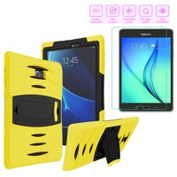 Galaxy Tab E 9.6 Case, Heavy Duty Shockproof Case, Tempered Glass Screen Protector Cover, Stylus Pen Bundle Kit For Samsung Galaxy Tab E 9.6-inch T560 T560NU T560NZ SM-T560 SM-T567 (Yellow)