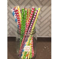 CHARMED RAINBOW MIX PAPER STRAWS ASSORTMENT OF 150 PIECES