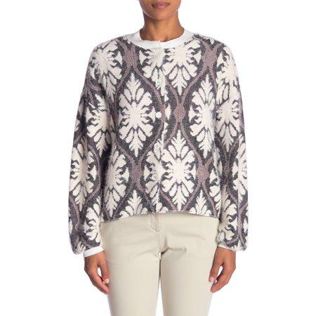 Mello Day Womens Medium Fuzzy Jacquard Cardigan Sweater - Mello Smello Halloween