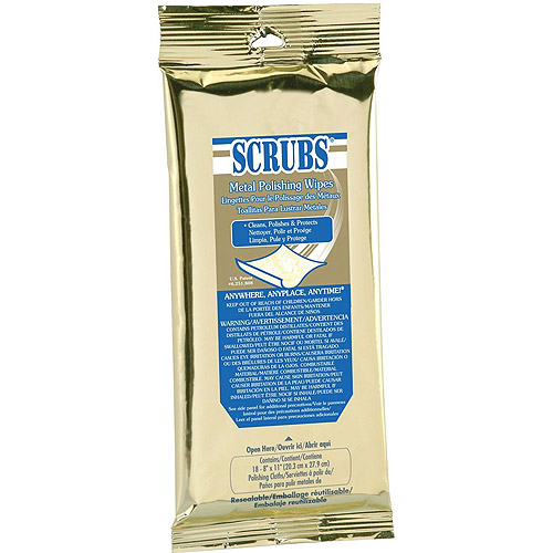 Dymon SCRUBS Metal Polishing Wipes, 18 sheets